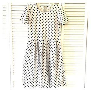 Lularoe Amelia Black & White Polka Dots Large